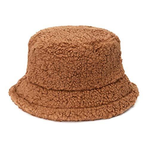 YDY Mode Solid Bucket Hat Girl Faux Winter Angelkappe für Frauen im Freien verdickt weich warm Fischer Hutkappe Lady Panama, Kaffee