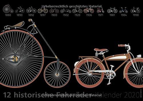 12 historische Fahrräder, Kalender 2020: 12 Illustrationen schöner historischer Fahrräder