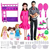 UCanaan Family Dolls Set of 6 People-Pregnant Doll with Baby in Tummy, Dad, 3 Daughters and 40 Baby Doll Accessories for Education and Birthday Day Gift