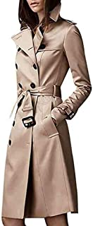 UJGYH Womens Winter Lapel Elegant Notched Collar Double Breasted Faux Wool Blend Overcoat Trench Coats