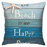 Cup Off The Beach Is My Happy Place Funda de Almohada Funda de Almohada Cuadrada Sofá Cama para el hogar Funda de cojín Decorativa