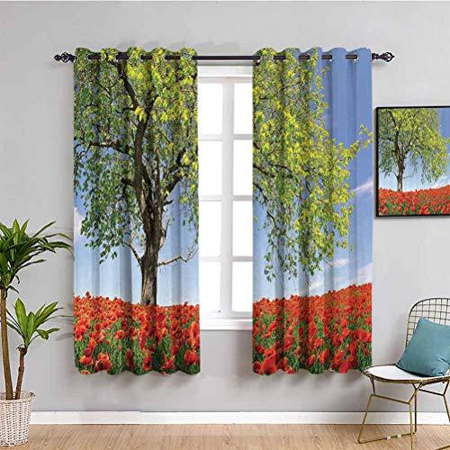 Cortina de decoración de amapolas paisaje de flores amapolas en el campo, árbol majestuoso, terreno rural, hábitat, foto de baño, verde, rojo, azul
