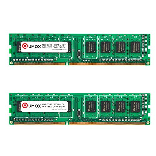 QUMOX Memoria 8GB (2X 4 GB) DIMM DDR3 1600MHz 1600 PC3-12800