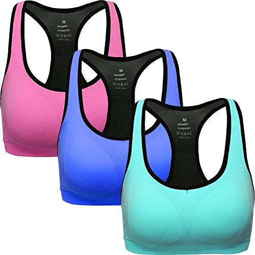 ANGOOL Damen Komfort Klassische Racerback Sport BH Top Fuer Yoga Fitness-Training, Rosa blau azurblau, M Fit 70DD 70E 75D 80BC 85BC