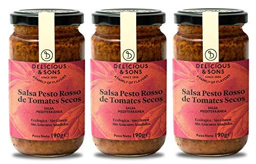 Delicious & Sons Salsa Pesto Rosso de Tomates Secos Italiana - Ecológica - Sin Transgénicos - Sin Gluten - 190g (Pack de 3)