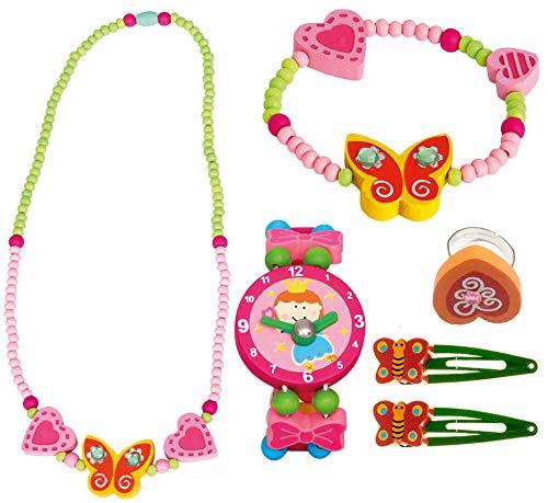 Bino 6 TLG. Set Holzschmuck Mädchenschmuck Kinderschmuck Motiv Schmetterling Gelb - Halskette Armband Haarspangen Armbanduhr Ring