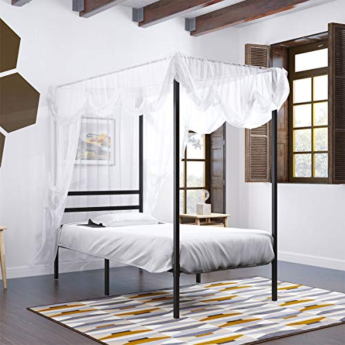 YITAHOME Metal Twin Size Canopy Bed Frame with Built-in Headboard / 14 Inch Platform/Strong Metal Slat Support/No Box Spring Needed