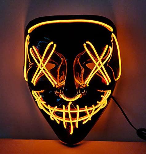 XLH Halloween Luminous Mask Neon Led Joker Costume Props Carnival Festival Light Up Wire Mask Mask Halloween Christmas Decor,H