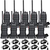 Retevis H-777S Long Range 2 Way Radios Walkie Talkies, Hands Free Rechargeable Two Way Radios,Portable Walkie Talkies with Earpiece for Commercial, Education(Black,10 Pack)