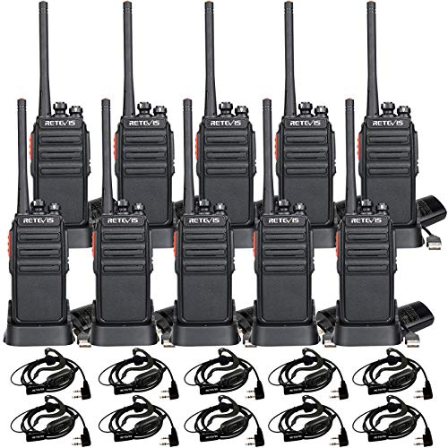 Retevis H-777S Walkie Talkies Long Range,Hands Free 2 Way Radios,Portable Walkie-Talkie with Earpiece,Rechargeable Two Way Radios,for Commercial,Education,Restaurant(10 Pack)