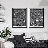 DLFALG Europa Blanco y Negro Mundo Alemania Mapa de la ciudad Berlín Frankfurt Cartel Lienzo Pintura Arte de la pared Imágenes Impresiones Oficina Decoración para el hogar-40x60cmx2 Sin marco
