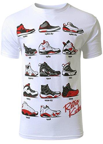 Mens Hipster The Retro Kicks Cute Print T - Shirt, White, Medium