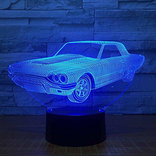 ZNND Lumière colorée de nuit de gradient, créativité de remplissage d'USB LED Effet d'illusion de 3D Lampe dimensionnelle de Tableau de voiture (panneau acrylique + base d'ABS)