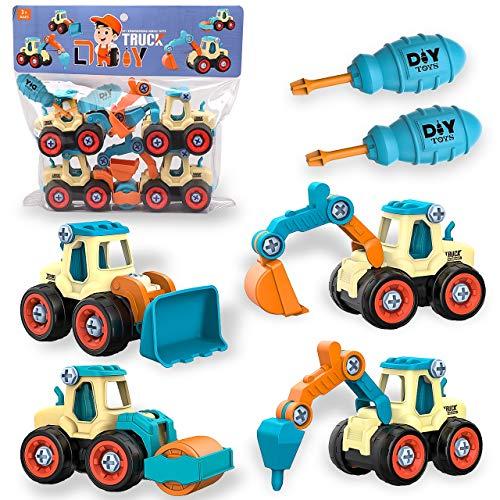 aovowog 4 en 1 Vehículo de Construcciones Juguete Excavadora para Niños 2...