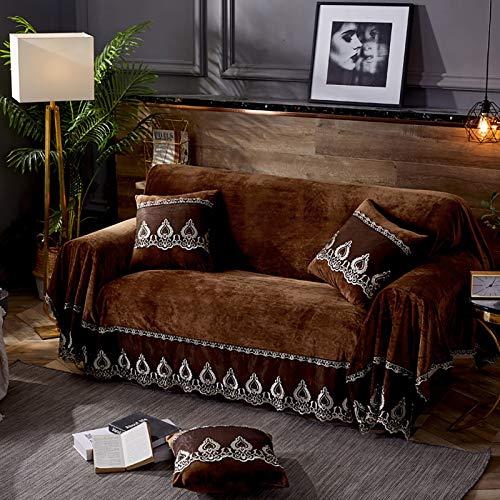 TIYKI 1 Couverture De Divan De Dentelle De Pièce,Peluche Housse De Canapé,Couverture De Lit De Sofa De Couleur Pleine,pour Living Room Dog Pet Furniture Protect-Café. 200x380cm(79x150inch)