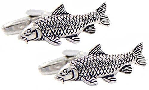Cufflinks - 3D Silver Carp Cufflinks (With Gift Bag)