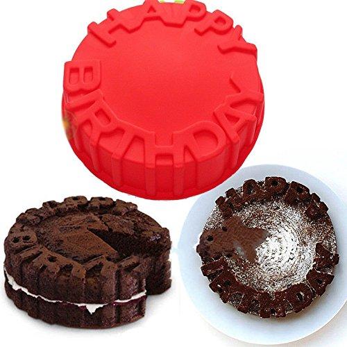 Vancgoods 7 pouces mot gâteau anniversaire heureux gâteau de gâteau de cuisson moule en silicone souple moule DIY gâteau dessert cuire des ustensiles