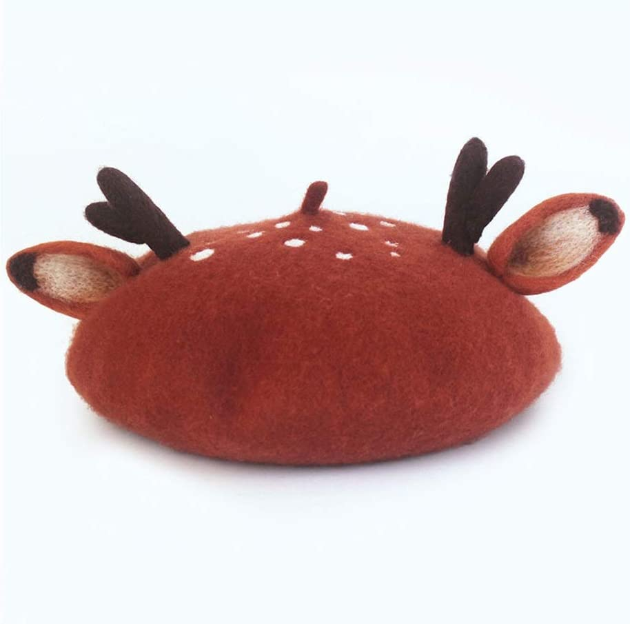 no-branded 100% Wool Felt Berets Small Fresh Handmade Christmas Ears Berets Creative Wild Hat Fashion Girls Gift ZRZZUS (Color : Brick red, Size : 56-58CM)