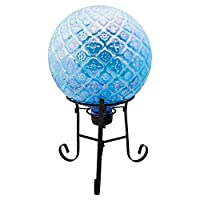 Truu Design Beautiful Glass Lawn and Garden Decorations Embossed Glass Gazing Ball, 10 x 10 inches, Blue