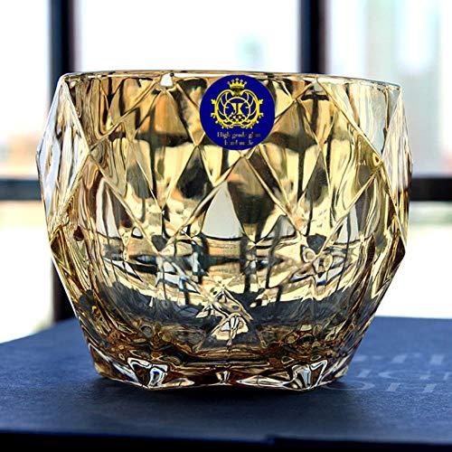 Sin plomo Resistente al calor Cristal transparente Cerveza Whisky Vidrio Brandy Vodka Licor Glaseado para el hogar Color Tawny Copa de vino, No.43