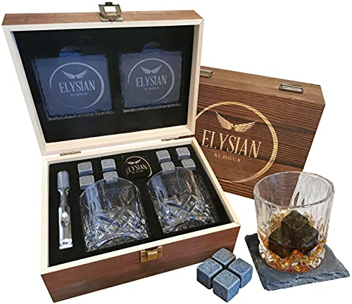 Whisky Gift Set - Whiskey Glass Set enclosed in Vintage Wooden Gift Box....