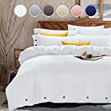 King Duvet Cover Set, 3 Piece - 1200-Thread-Count Hotel Luxury Microfiber Down Comforter Quilt Bedding Cover with Deco Buttons, Zipper, Ties - Best Modern Style for Men and Women, White