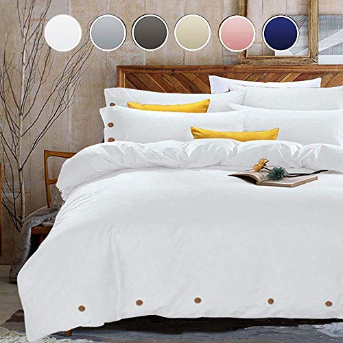 King Duvet Cover Set, 3 Piece - 1200-Thread-Count Hotel Luxury Microfiber Down Comforter Quilt Bedding Cover with Deco Buttons, Zipper, Ties - Modern Style for Men and Women, White