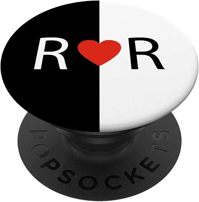 Blanc Lettre E Monogramme Initial Coeur/ PopSockets Support et Grip pour Smartphones et Tablettes Rose