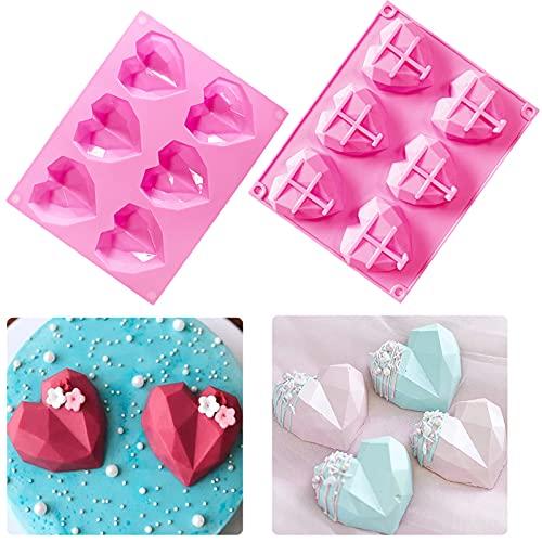 6-wnęka 3D miłość serce forma w kształcie diamentu silikonowe formy do pieczenia czekolada mydło pudding ciasto ręcznie robione narzędzia do pieczenia taca forma narzędzie do samodzielnego wykonania