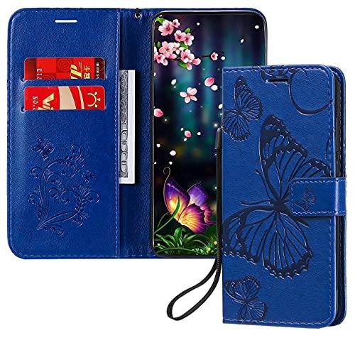 Cover Xiaomi Redmi Note10 Pro,Flip Cover Custodia Protettiva in Pelle PU con Portafoglio,Funzione Supporto,Farfalla Custodia Folio per Redmi Note10 Pro/Note 10 Pro Max-Blue KT