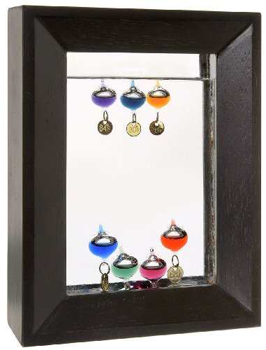 Lily's Home 7' Rectangle Wood Frame Galileo Thermometer with 7 Multi Color Floats and Gold Temperature Tags