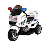 RIGO Kids Toy Ride On Car Police Motorbike Motorcycle Electric Car-White