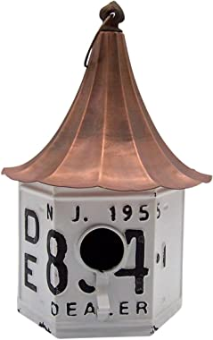 Wowser Rustic Metal Vintage Syle License Plate Birdhouse for Outside, 13 Inches