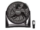 Práctico ventilador con mando a distancia y temporizador, se puede utilizar como ventilador de mesa o de pared, 3 niveles de potencia, 30 cm de diámetro, color negro
