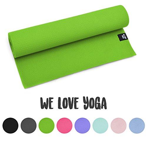 zenpower Yogamatte - We Love Yoga - 180cm, 6mm dick - rutschfest & leicht, Grün