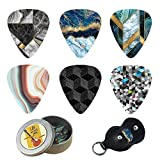 Guitar Picks - Cheliz 12 Medium Gauge Celluloid Guitar Picks In a Box W/Picks Holder. Unique Guitar Gift For Bass, Electric & Acoustic Guitars (Abstract Stone)