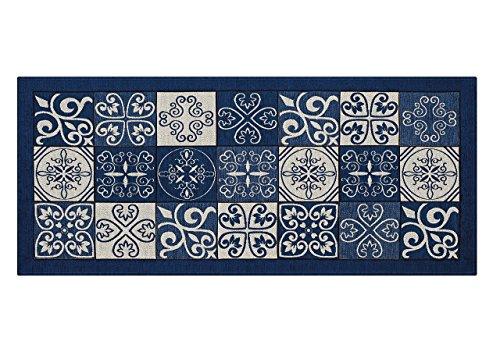 BIANCHERIAWEB Tappeto Passatoia Runner Cucina Antiscivolo Antimacchia Lavabile Maiolica Suardi 55x80 Blu