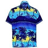 T-Shirt Herren Hawaii Hemd Kurzarm Flamingos Aloha Party Shirt Palm Strand Drucken Shirts Beiläufig Taste schnell trockene Bluse Sommerkleid (XXXL, T-Blau)