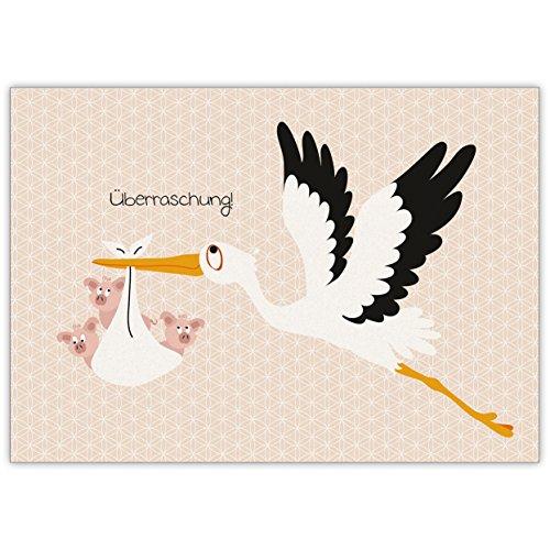 Lustige Anzeigenkarte zur Geburt eines Babys, Zwillingen oder Drillingen mit Storch und Schweinchen: Überraschung! • schöne Willkommens Grußkarte, Geburts Anzeigen Klappkarte um ihre Baby Geburt zu feiern