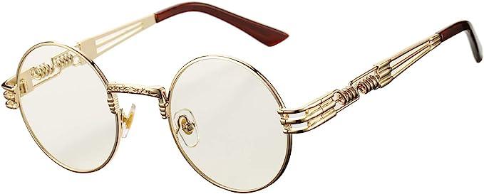 Steampunk Accessories | Goggles, Gears, Glasses, Guns, Mask DeBuff Retro Round Steampunk Sunglasses John Lennon Hippie Glasses  AT vintagedancer.com