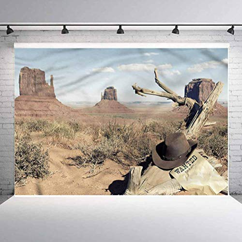 7x7FT Vinyl Wall Photography Backdrop,Western,Cowboy Hat on Dried Tree Background for Baby Birthday Party Wedding Graduation Home Decoration