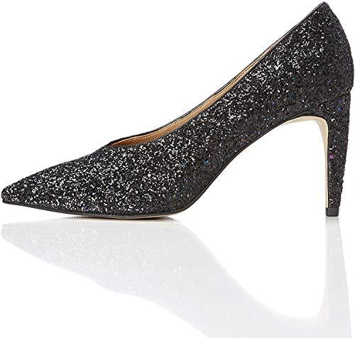 find. Damen Glitter Court Pumps, Mehrfarbig (Black Multicolour), 38 EU