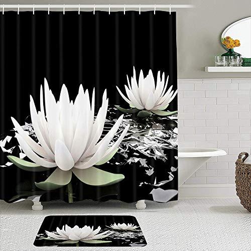 KISSENSU Cortinas con Ganchos,Lotus SPA Magic Lotus White Lily Flor de Agua sobre Fondo Negro,Cortina de Ducha Alfombra de baño Bañera Accesorios Baño Moderno