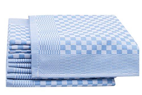 ZOLLNER 10er-Set Geschirrtücher, Vollzwirn, 100% Baumwolle, 46x70 cm, blau