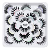 DYSILK 10 Pairs 6D Mink False Eyelashes Faux Mixed Long Wispy Natural Eyelashes Fluffy Thick Eyelashes Handmade Reusable Dramatic Eyelashes Pack Makeup Lashes 10 Styles