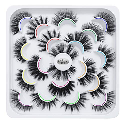 DYSILK 10 Pairs 6D Mink Eyelashes Faux Fluffy Wispy Natural False Eyelashes Long Thick Fake Eyelashes Handmade Reusable Dramatic Eyelashes Pack Makeup Lashes 10 Styles Mixed