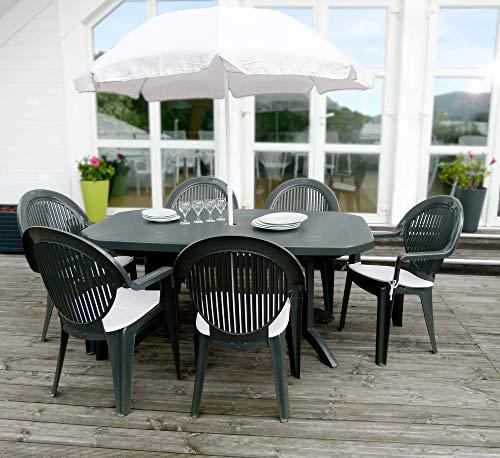Ondis24 fertiges Gartenmöbel Set Vega 165, Sitzgruppe für 6 Personen, Gartenset mit Tisch Schirm Sitzkissen, Balkonmöbel Essgruppe Garten, Lounge Sitzgarnitur