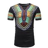 Camisa Con Estampado Africano para Hombre Cuello Redondo Camisetas De Manga Corta De Moda Black