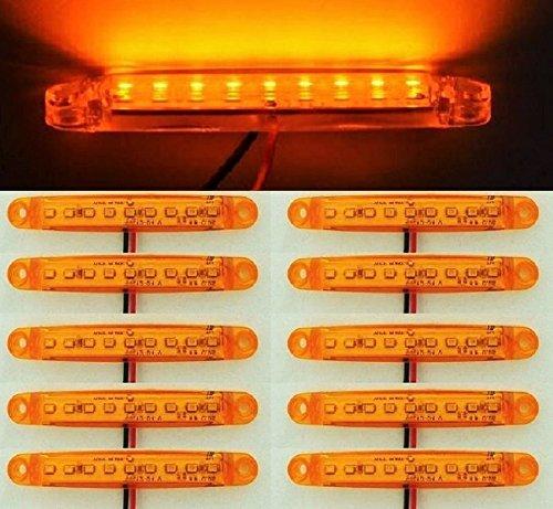 Lot de 10 feux de gabarit latéraux 24 V 9 LED orange ambré pour châssis de camion, remorque, caravane, camping-car, bus
