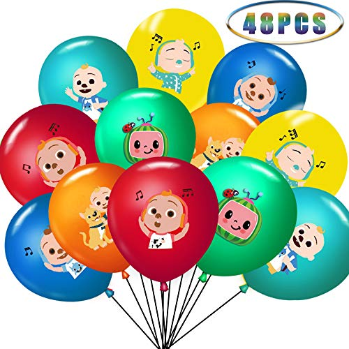 48 pcs Cocomelon Party Supplies - 12 Inch Latex Balloons 6 color For Cocomelon Theme Kids Baby Shower Birthday Party Decorations